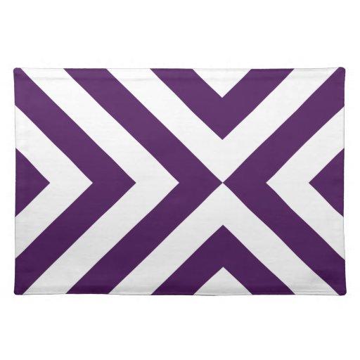 Galones púrpuras y blancos mantel individual