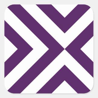 Galones púrpuras y blancos pegatina cuadrada