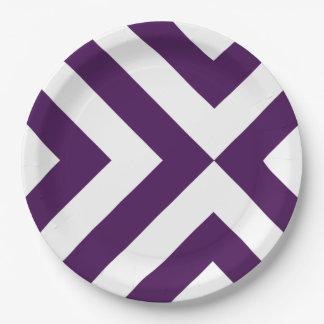 Galones púrpuras y blancos plato de papel de 9 pulgadas