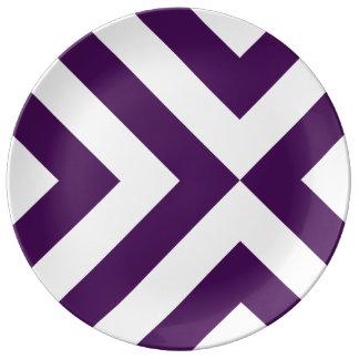 Galones púrpuras y blancos platos de cerámica