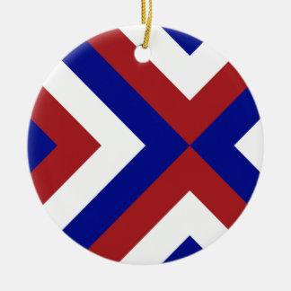 Galones rojos, blancos, y azules adorno navideño redondo de cerámica