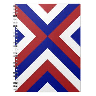 Galones rojos, blancos, y azules libros de apuntes