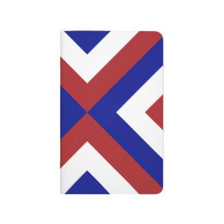 Galones rojos, blancos, y azules cuaderno grapado