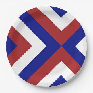 Galones rojos, blancos, y azules plato de papel de 9 pulgadas
