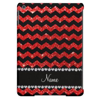 Galones rojos de neón negros conocidos de encargo funda para iPad air