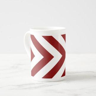 Galones rojos y blancos taza de porcelana