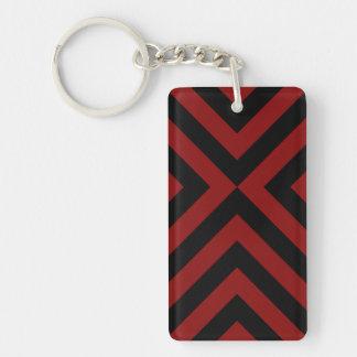 Galones rojos y negros llavero rectangular acrílico a doble cara