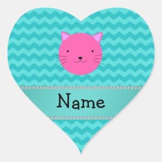 Galones rosados conocidos personalizados de la pegatina en forma de corazón