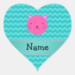 Galones rosados conocidos personalizados de la tur pegatina corazón