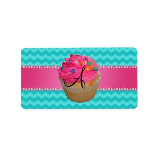 Galones rosados de la turquesa de la magdalena del etiqueta de dirección