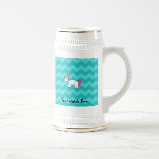 Galones rosados de la turquesa del unicornio del p taza de café