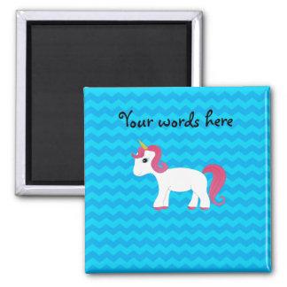 Galones rosados del azul del unicornio del pelo imán de nevera