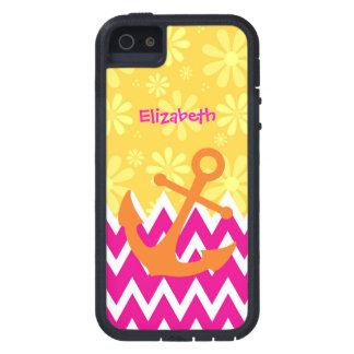 Galones rosados femeninos con el ancla anaranjada iPhone 5 Case-Mate cárcasas