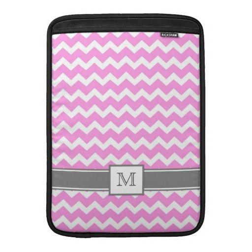 Galones rosados grises del monograma de encargo de funda  MacBook