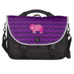 Galones rosados lindos de la púrpura del hipopótam bolsas para ordenador