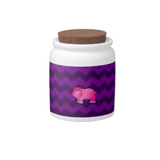 Galones rosados lindos de la púrpura del hipopótam plato para caramelo