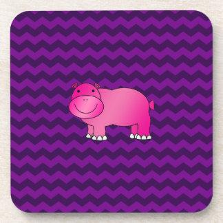 Galones rosados lindos de la púrpura del hipopótam posavasos