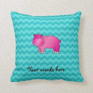 Galones rosados lindos de la turquesa del hipopóta almohadas
