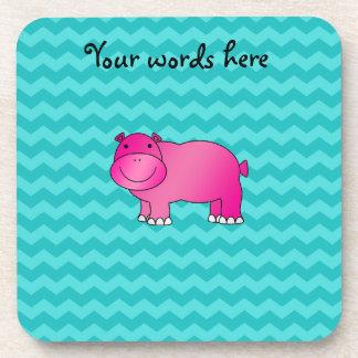 Galones rosados lindos de la turquesa del hipopóta posavasos de bebida