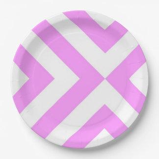 Galones rosados y blancos plato de papel de 9 pulgadas