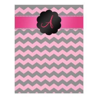 Galones rosados y negros del monograma tarjetas informativas
