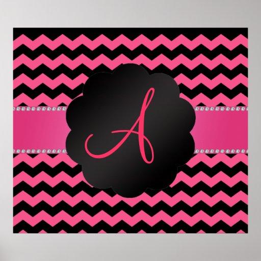 Galones rosados y negros del monograma póster