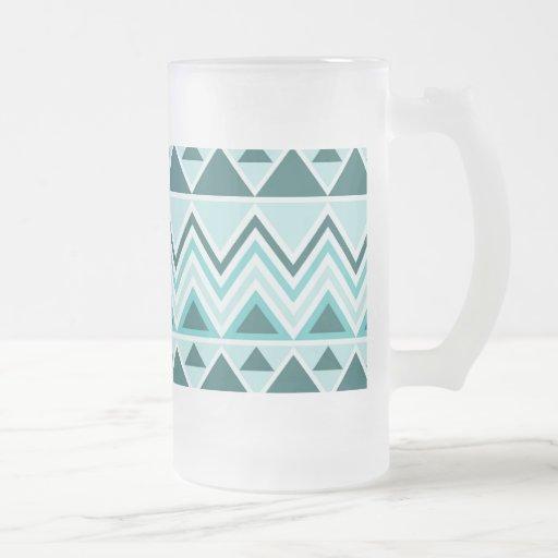 Galones tribales aztecas de los triángulos de las jarra de cerveza esmerilada