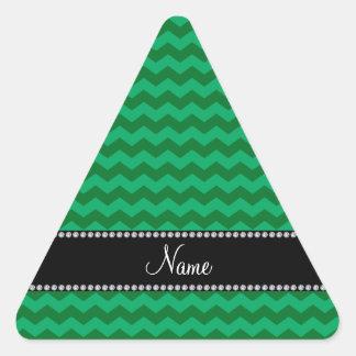 Galones verdes conocidos personalizados calcomanías de triangulos personalizadas