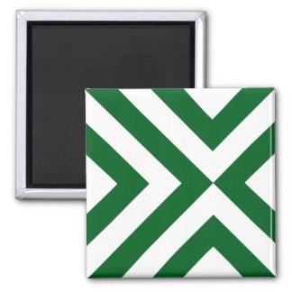 Galones verdes y blancos imán cuadrado