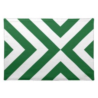 Galones verdes y blancos manteles individuales