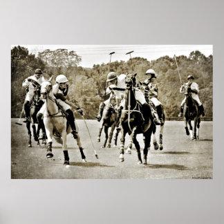 Galope de los caballos del polo posters