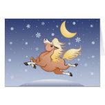 Galope de medianoche de la nieve debajo de la luna tarjeta de felicitación