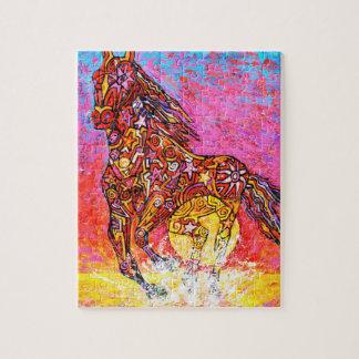 Galope mágico, sol y resaca del caballo rompecabezas con fotos