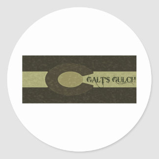 Galt s Gulch - Gray and Gold Combo Design Round Stickers