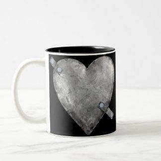 galvanized bolted heart Two-Tone coffee mug