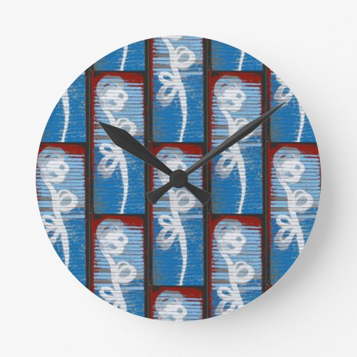 Galvanized Flowers Round Wall Clock