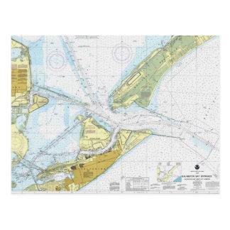 Galveston Bay and Texas City Harbur chart Post Cards