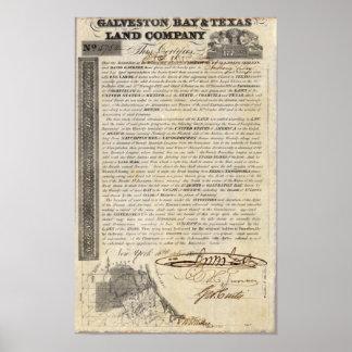 Galveston Bay and Texas Land Company Poster