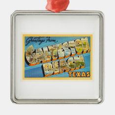 Galveston Beach Texas Tx Vintage Travel Souvenir Metal Ornament at Zazzle