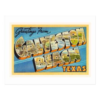 Galveston Beach Texas TX Vintage Travel Souvenir Postcard