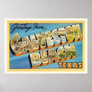 Galveston Beach Texas TX Vintage Travel Souvenir Poster