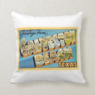 Galveston Beach Texas TX Vintage Travel Souvenir Throw Pillow