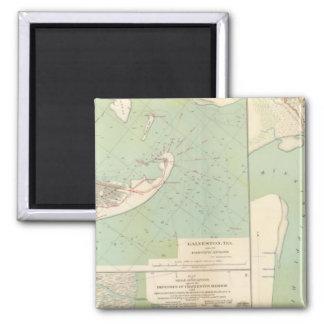 Galveston, Charleston Harbor, Port Hudson 2 Inch Square Magnet