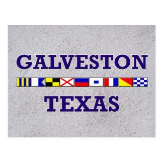 Galveston Nautical Flag - Sand Postcard