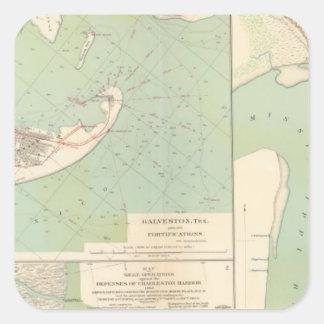 Galveston, puerto de Charleston, puerto el Hudson Pegatina Cuadrada