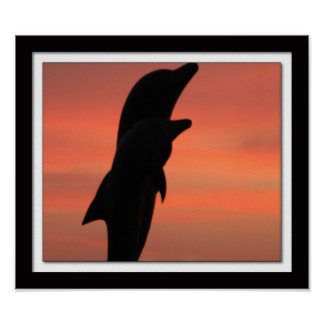 Galveston Seawall Beach Dolphin Statue at Sunrise Poster