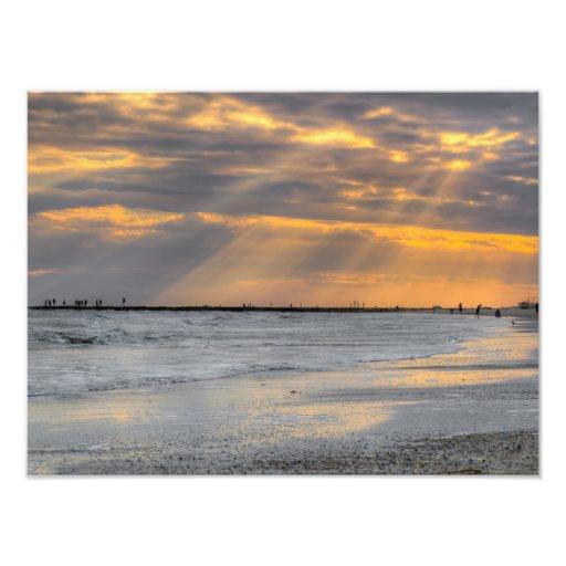 Galveston Sunset Rays Photograph