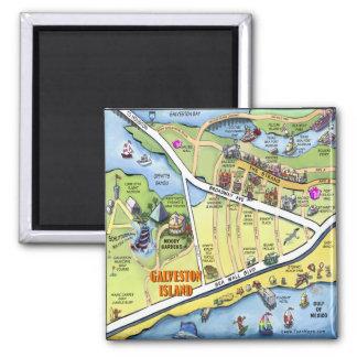 Galveston Texas Cartoon Map 2 Inch Square Magnet