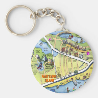 Galveston Texas Cartoon Map Basic Round Button Keychain