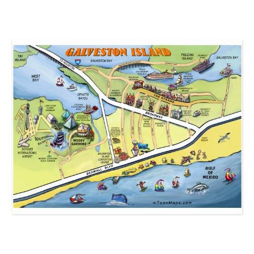 Galveston Texas Cartoon Map Postcards